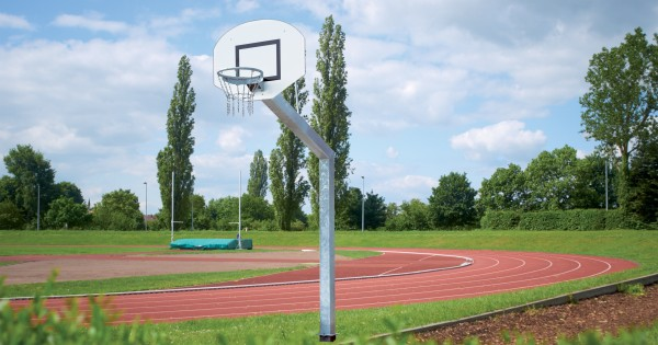 Basketball Anlage Court Royal Big Duty mit Alu Fächerbrett 120 x 90 cm