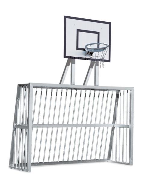 Bolzplatztor mit Basketball - Gitterbrett